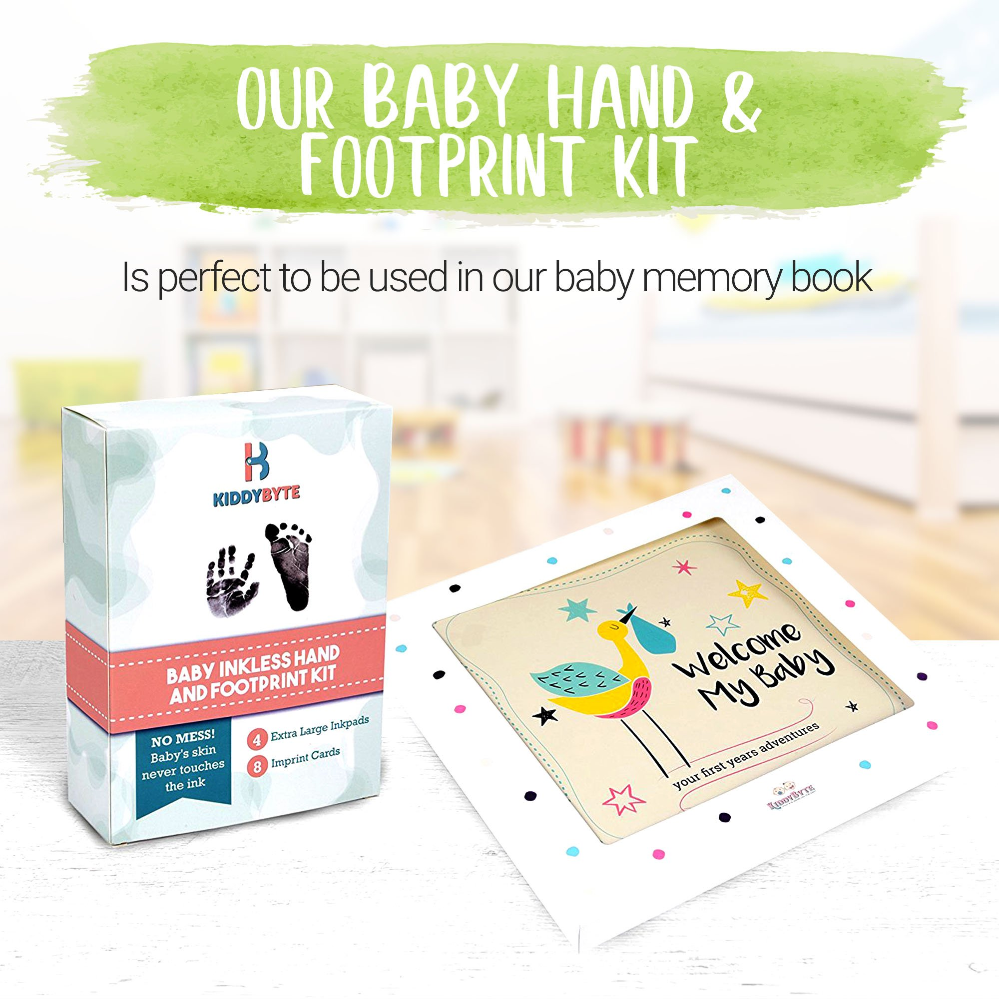 Baby Inkless Footprint & Handprint Kit with 4 Extra Large Ink Pads and 8 Imprint Cards by KiddyB, Perfect Baby Shower Registry Gift for Boys and Girls Photo Or Picture Frames by KiddyB (Image #5)