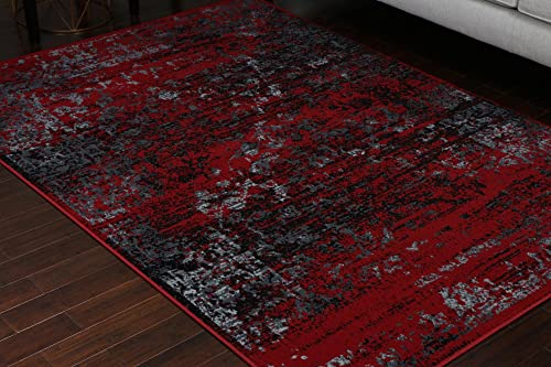 Generations 100 Olefin Grey Silver White Red Oriental Traditional Antique Isfahan Persian Area Rugs Rug 8060red 7'10 x 10'4