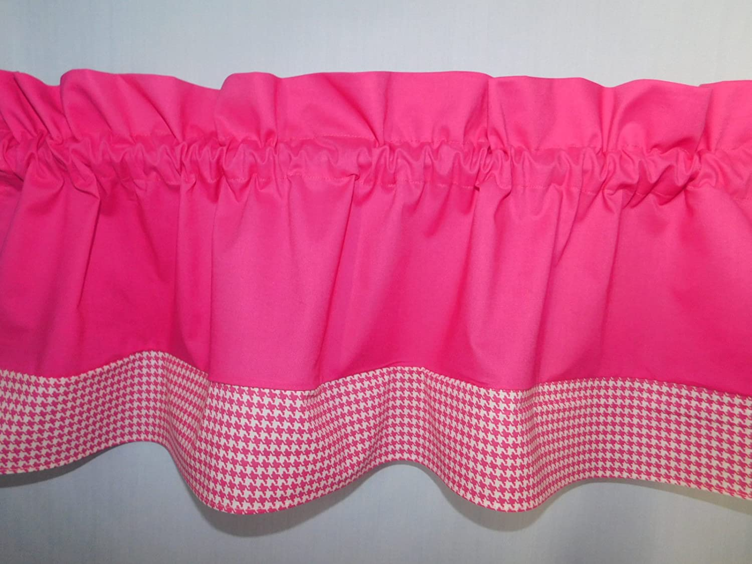 Solid Bright Pink and white hounds-tooth valance. Kids Window treatment decor, laundry room , Baby , school centers. girls