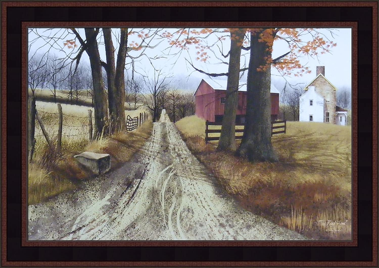 The Road Home by Billy Jacobs 15x21 Barn Country Dirt Road Farm Rural Primitive Folk Art Framed Print Picture