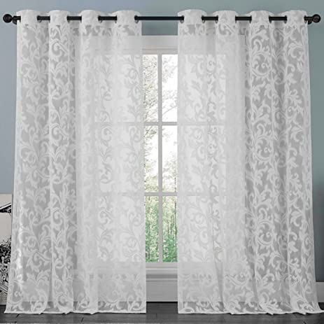 ATHENA White Lace Curtain Panel Set , Beautifully Crafted Floral Pattern  Window Curtain Filters The Light