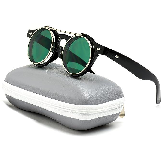 62a8fea694 Amazon.com  Flip up Cyber Steammpunk Round Circle Retro Sunglasses ...