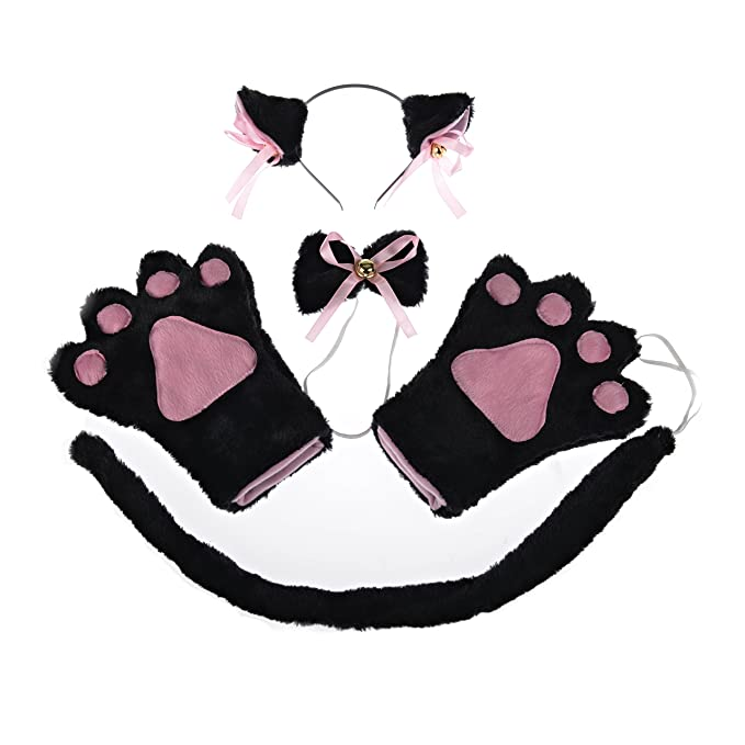6b6e686c4e597 I-MART Cat Cosplay Anime Costume Gothic Set Tail Ears Collar Paws Gloves