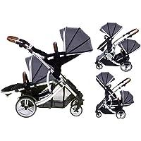 Duellette 21 BS Twin Double Pushchair Stroller Buggy (Dooglebug Silver) Brand New Colour Range!