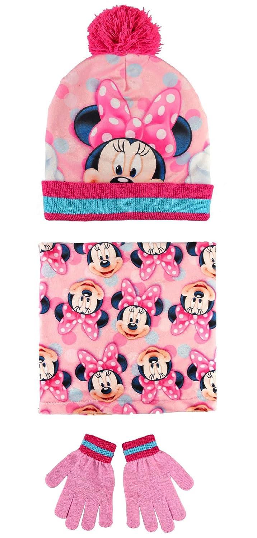 Minnie Mouse Set 3pezzi Cappello con Pon Pon Scaldacollo Guanti Invernale Bambina Taglia Unica 3-8anni Cerda