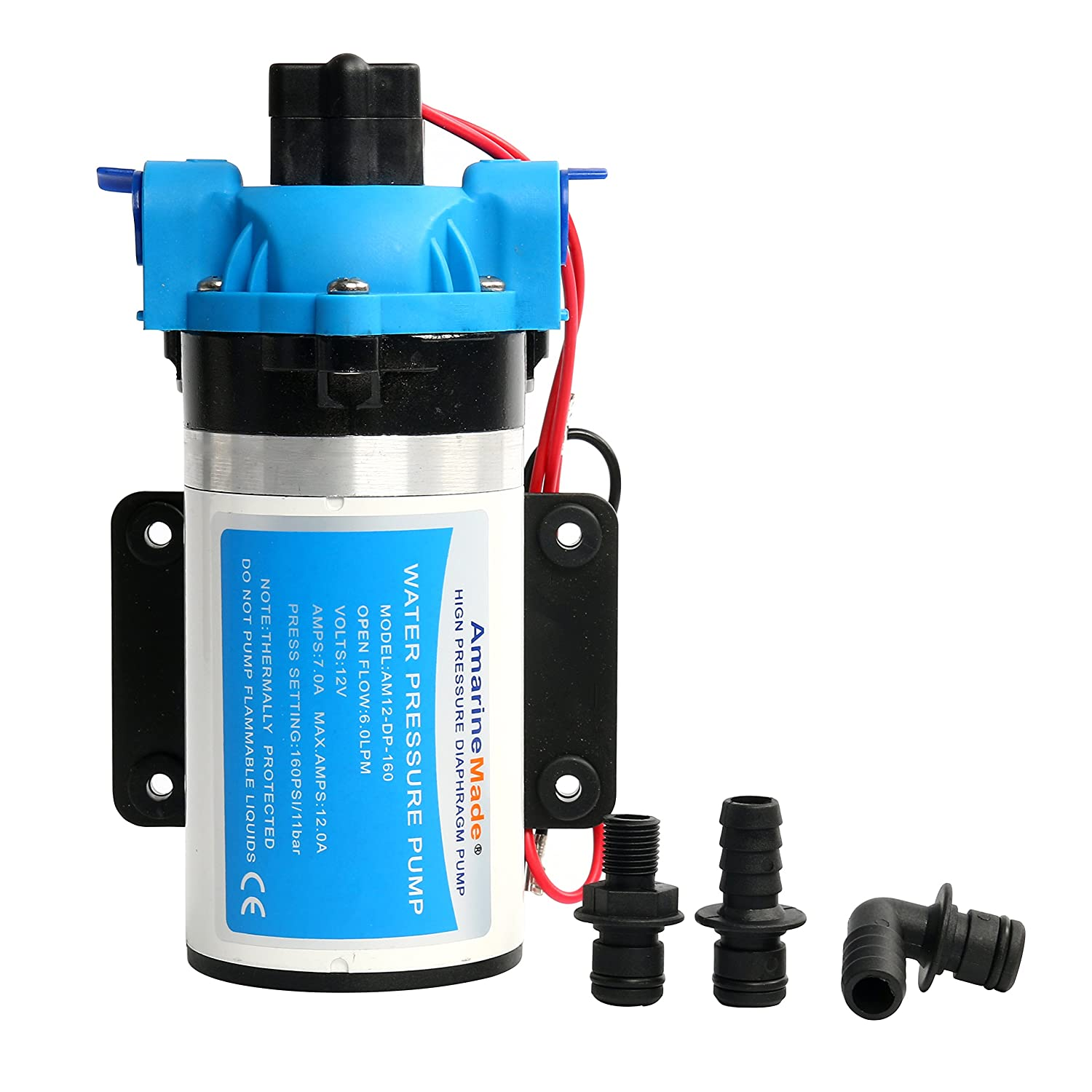 Amarine-made 12V Water Pressure Pump 6LPM AMPS 7A MAX.AMPS 12A Press Setting:160PSI//11bar Alfa Marine (shanghai) Co. Ltd