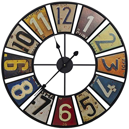 Everly Hart Collection 24 Vintage License Plates Round Wall Clocks, Multi-Color