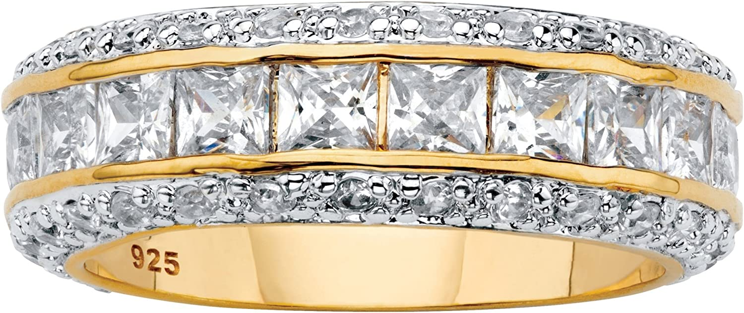 14K Yellow Gold over Sterling Silver Princess Cut and Round Cubic Zirconia Eternity Ring