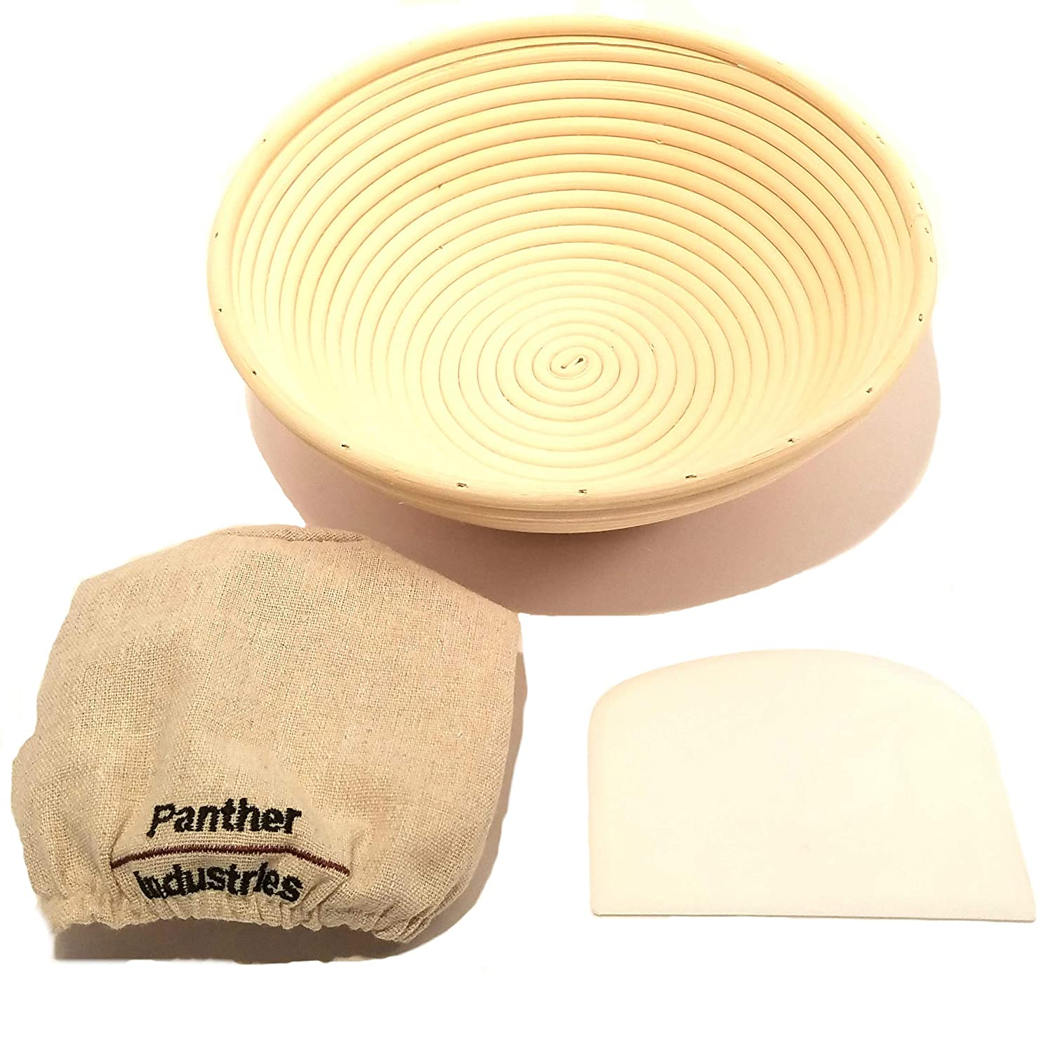 Bread Proofing Basket Set | 10 inch Banneton Basket + Bowl Scraper/Dough Cutter + Brotform Linen Liner Cloth, Perfect for Artisan Sourdough Bread made by Professional and Home Bakers