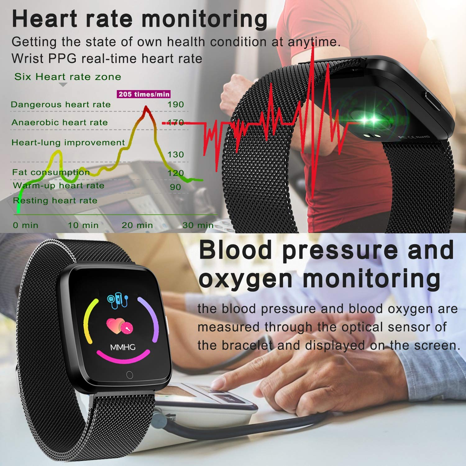 IP67 Waterproof Fitness Tracker, 1.5 Smart Watch with Heart Rate Blood Pressure Monitor for Men Women Activity Tracker Watchband with Weather Pedometer Calorie Camera Music Fathers Day Birthday Gifts