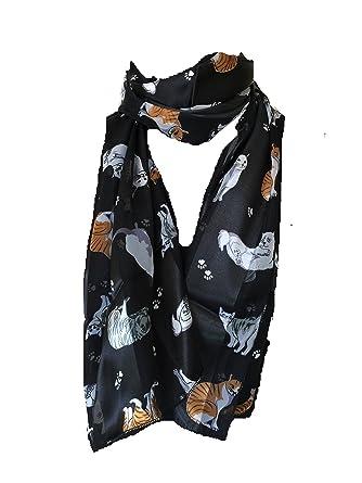 Noir brillante écharpe de chat avec des chats multicolores écharpe mince.  -- Black shiny b135cb7ba60