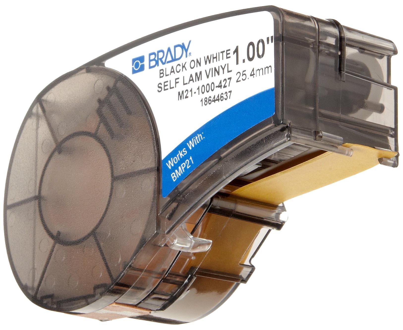 Brady Self-Laminating Vinyl Label Tape (M21-1000-427) - Black on White, Translucent Tape - Compatible with BMP21-PLUS Label Printer - 14' Length, 1'' Width