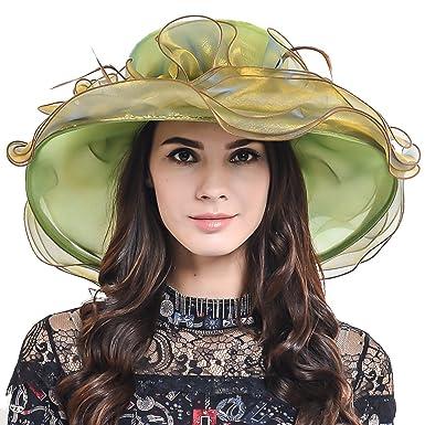 hisshe women tea party derby church wedding dress hat bridal shower s613 a green