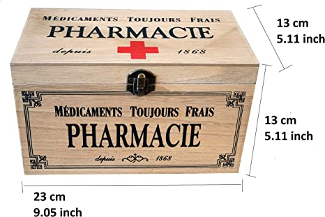 khevga - Caja con Tapa de Madera y decoración con Motivos de Farmacia (23 x 13 x 13 cm): Amazon.es: Hogar