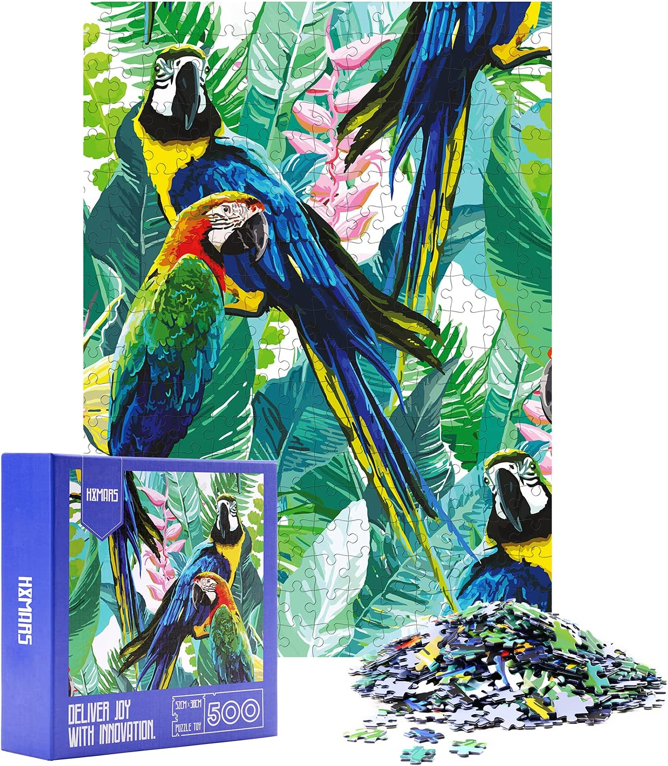 HXMARS Jigsaw Puzzles for Adults Parrot: 500 Piece Puzzles Game for Family-Parrot, Illustrated Art with Animals Garden Birds Cool and Challenging, 20