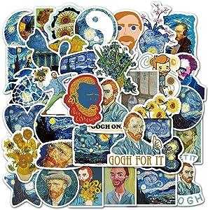 Van Gogh Stickers for Water Bottle,Abstract Art Laptop Vinyl Stickers,Suitable for Kids, Teen Girls, Teens(40PCS)