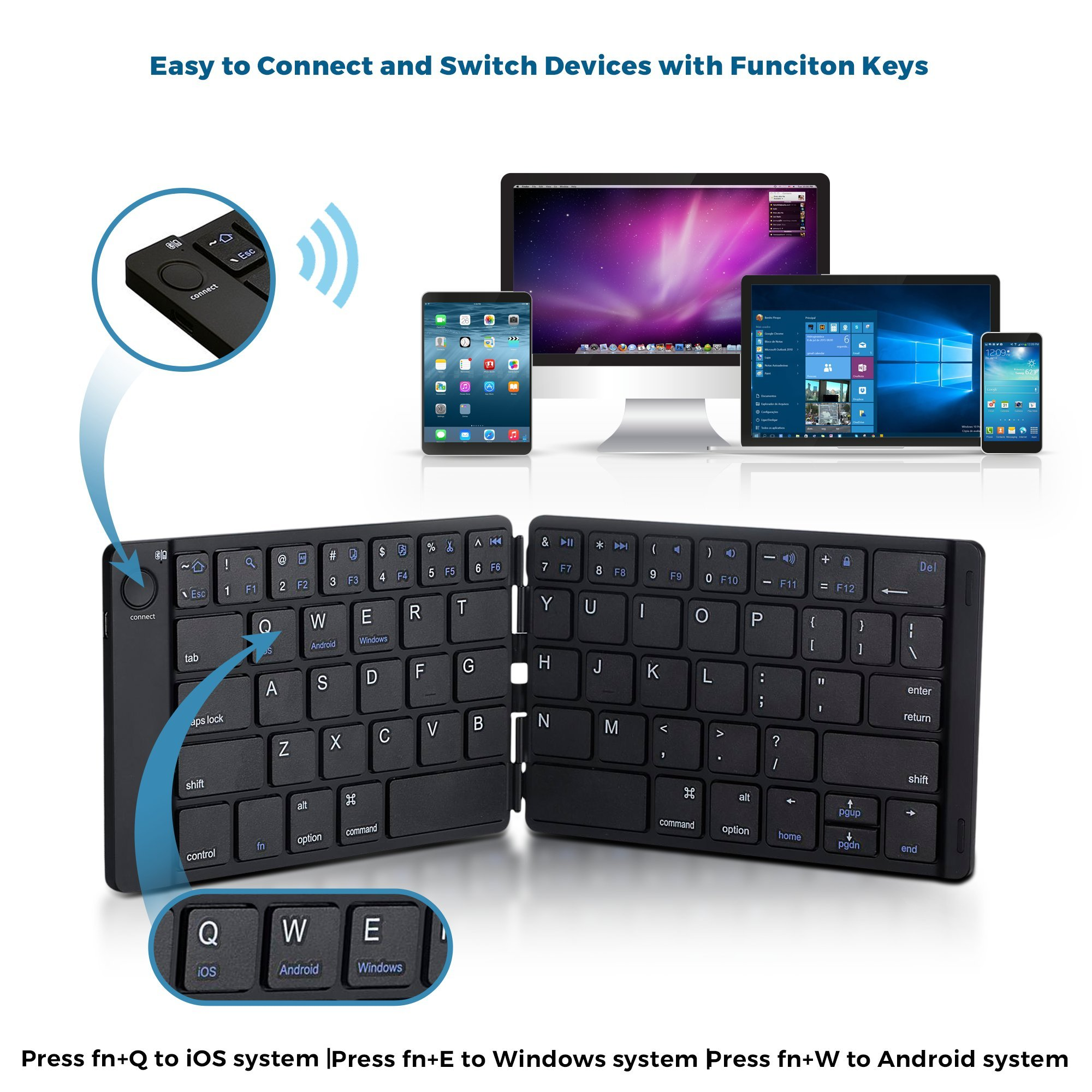 Foldable Bluetooth Keyboard Trendy Wag Portable Wireless Folding Rechargeable Pocket Size Full Size Ultra Slim for Windows Mac OS Android iOS PC iPad Samsung Tablet Smartphones by Trendy Wag (Image #2)