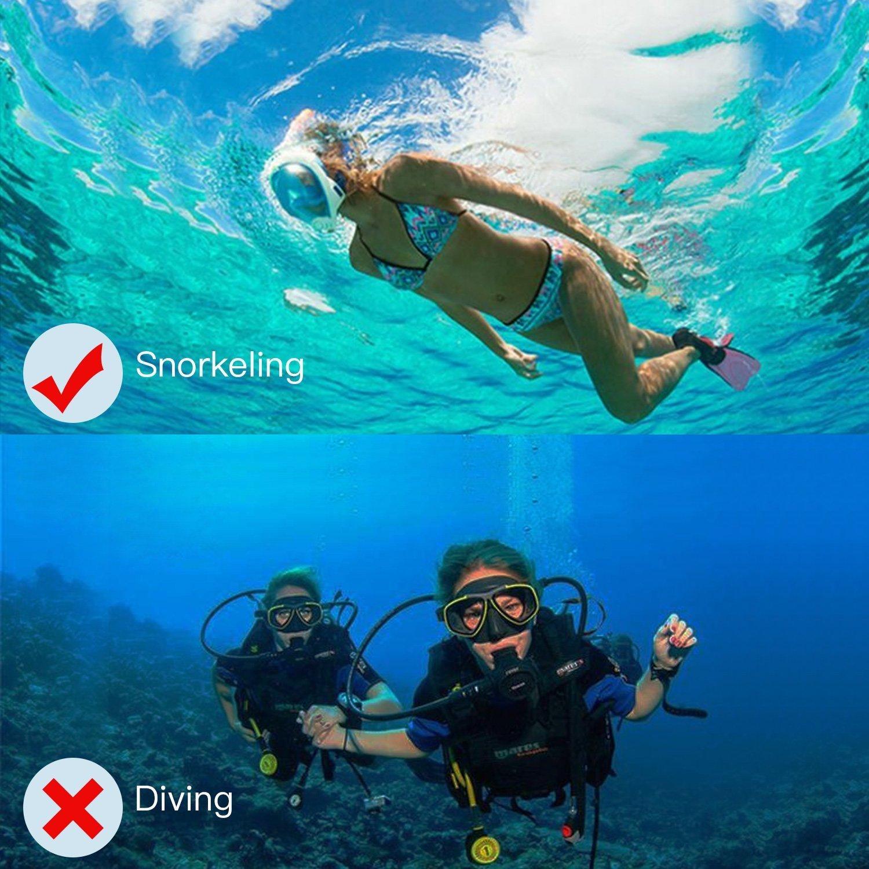Jasonwell Masque de Plong/ée Masque Snorkeling Plein Visage 180/° Visible Anti-bu/ée Anti-Fuite sous-Marine Snorkel Masque pour Enfants et Adultes