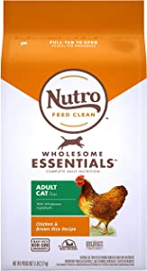 NUTRO WHOLESOME ESSENTIALS Natural Dry Cat Food, Adult Cat Chicken & Brown Rice Recipe Cat Kibble, 5 lb. Bag