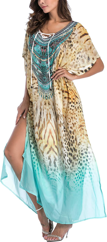 FreestyleMo Femme Boh/ême Maxi Tunique Kaftan Grande Taille Col en V Robe de Plage Longue