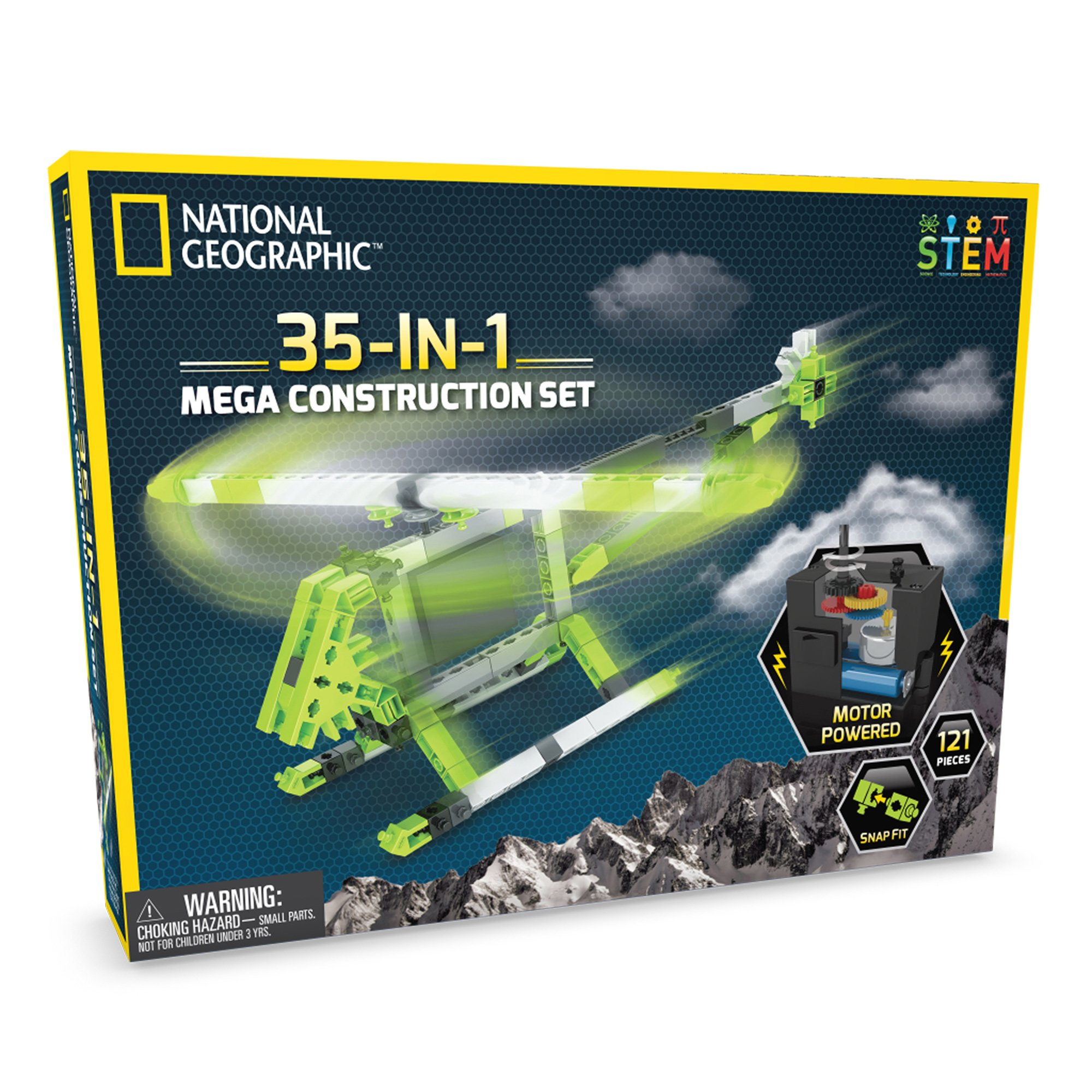 NATIONAL GEOGRAPHIC Mega Construction Engineering Set - Build 35 Unique Motorized Models: Helicopters, Cars, Animals and More - STEM Learning by NATIONAL GEOGRAPHIC