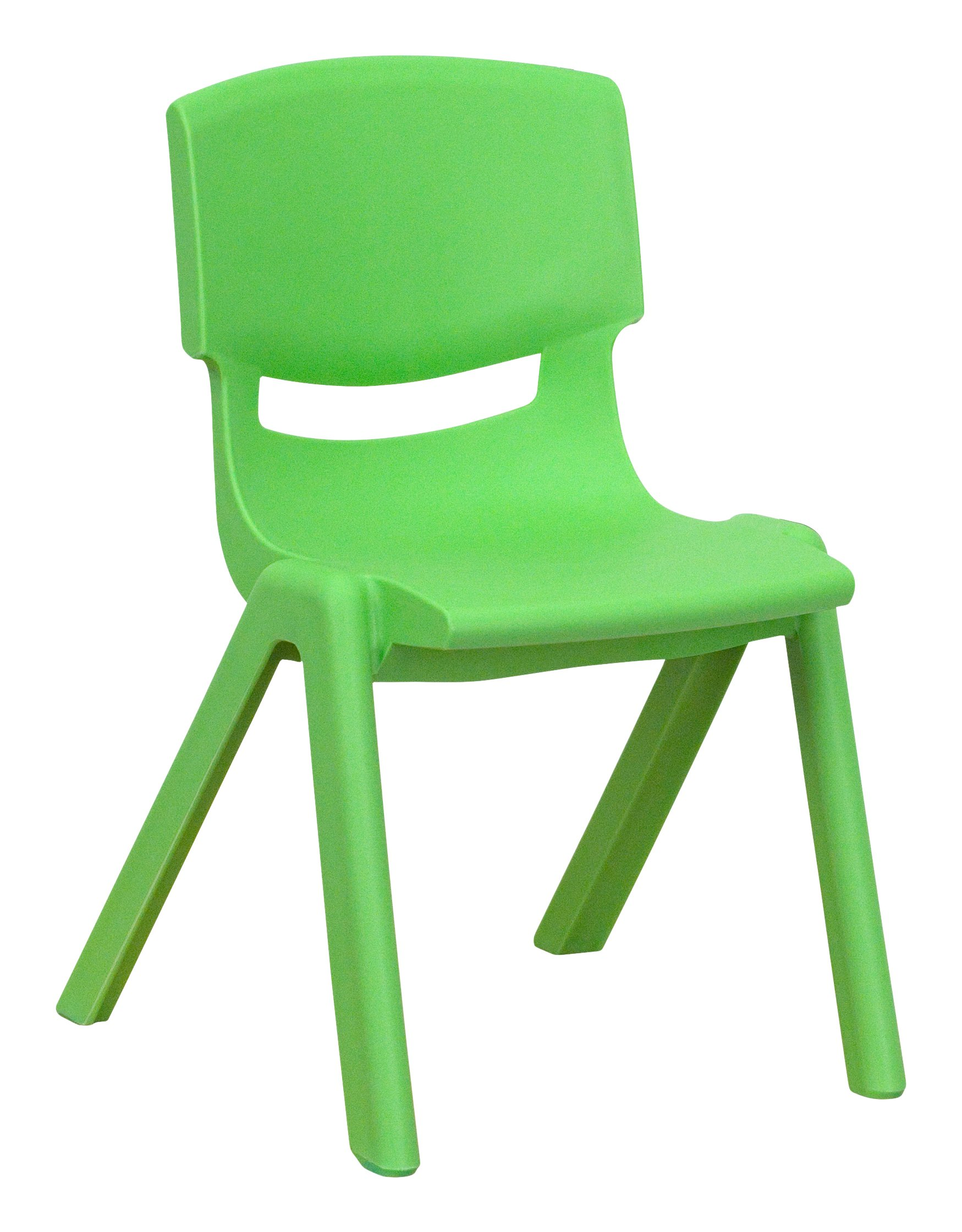 Flash Furniture 10 Pk. Green Plastic Stackable School Chair with 12'' Seat Height