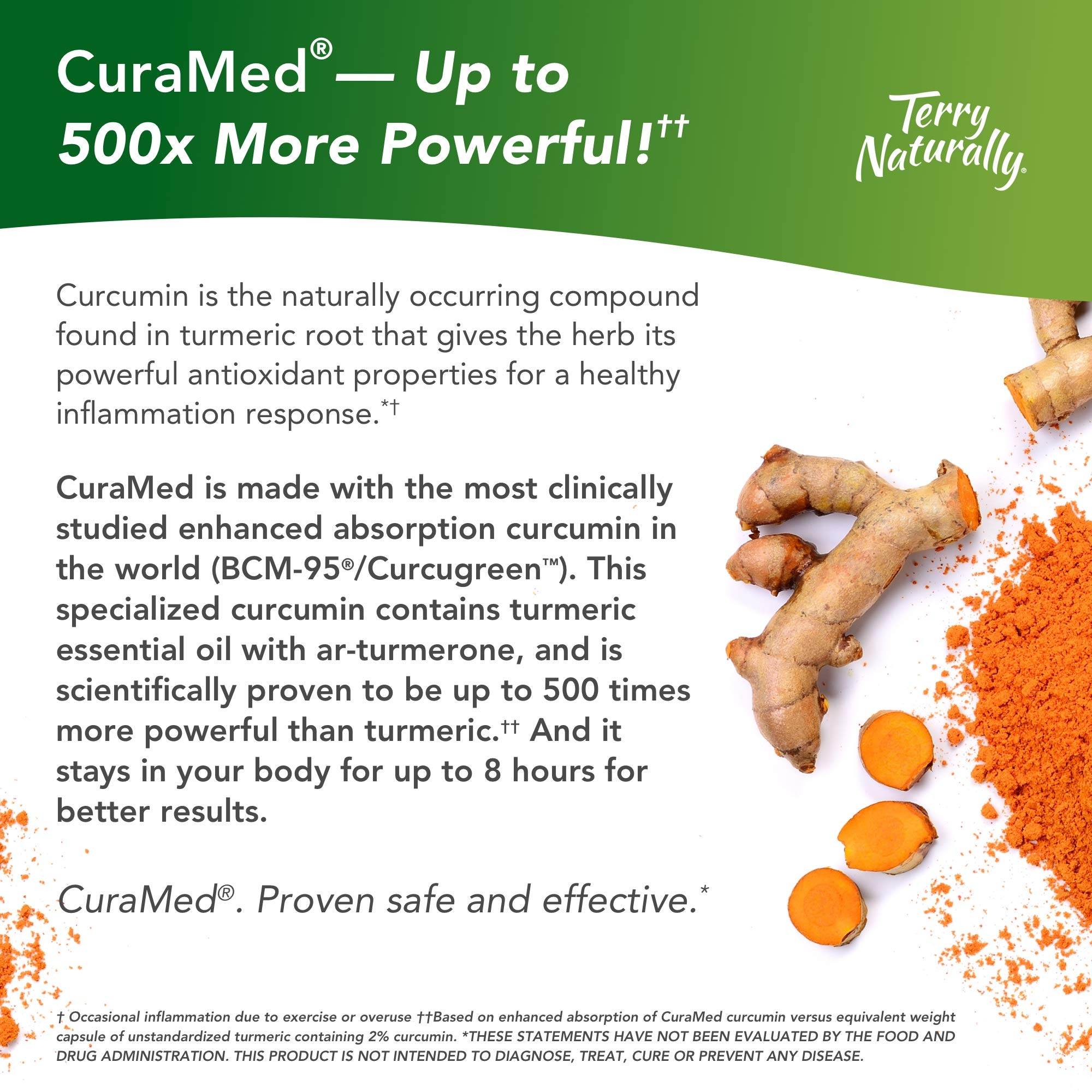 Terry Naturally CuraMed 750 mg - 60 Softgels - Superior Absorption BCM-95 Curcumin Supplement, Promotes Healthy Inflammation Response - Non-GMO, Gluten-Free, Halal - 60 Servings by Terry Naturally (Image #4)