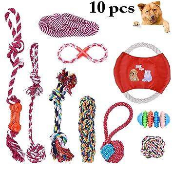 Juguete para Perro, Legendog 10Pcs Juguete de Cuerda para perros Juguete de Entrenamiento de Cachorro Interactivo Resistente a la Mordedura de Mascotas ...