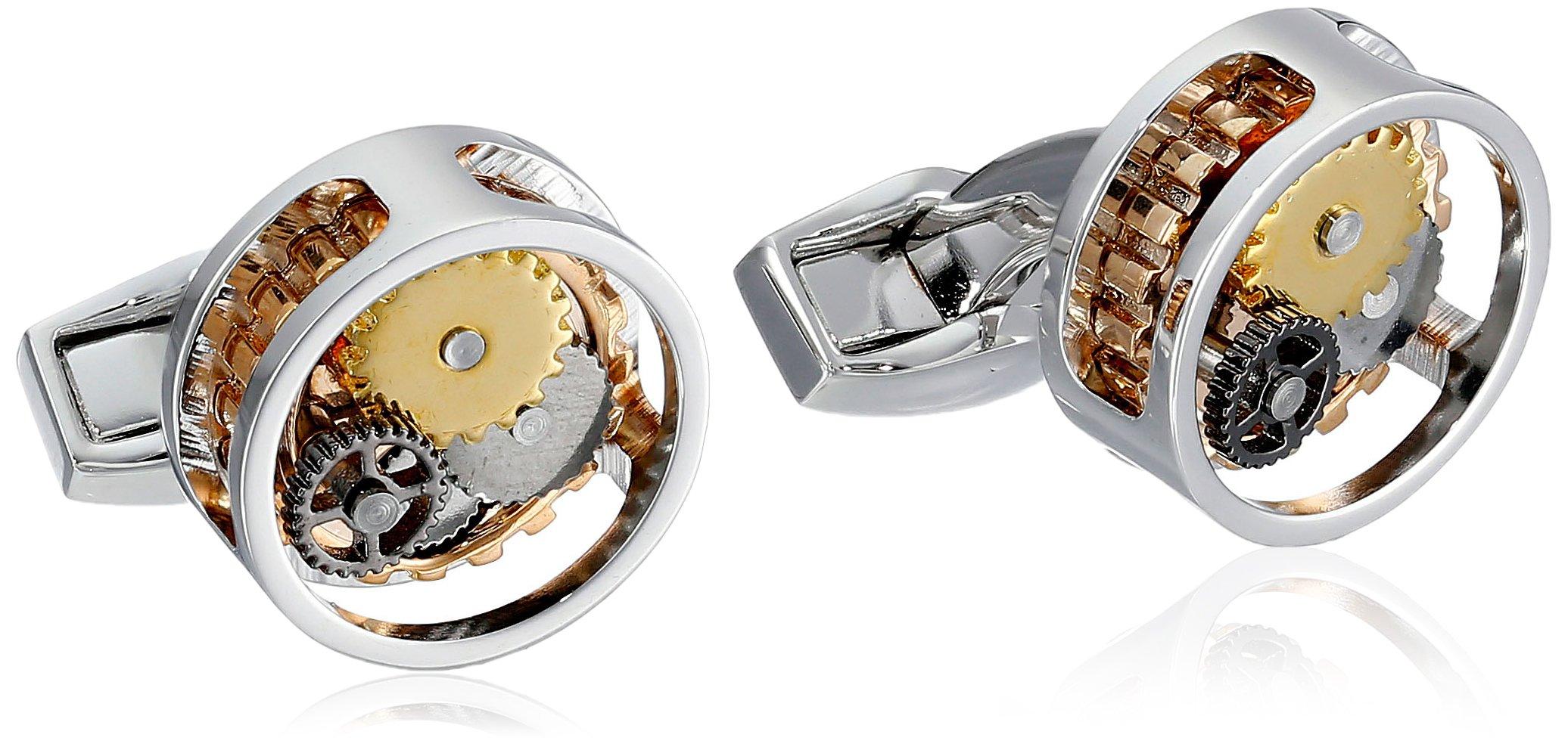 Tateossian Men's ''Mechanical'' Rhodium Plated Silver Gear Perspex Cufflinks