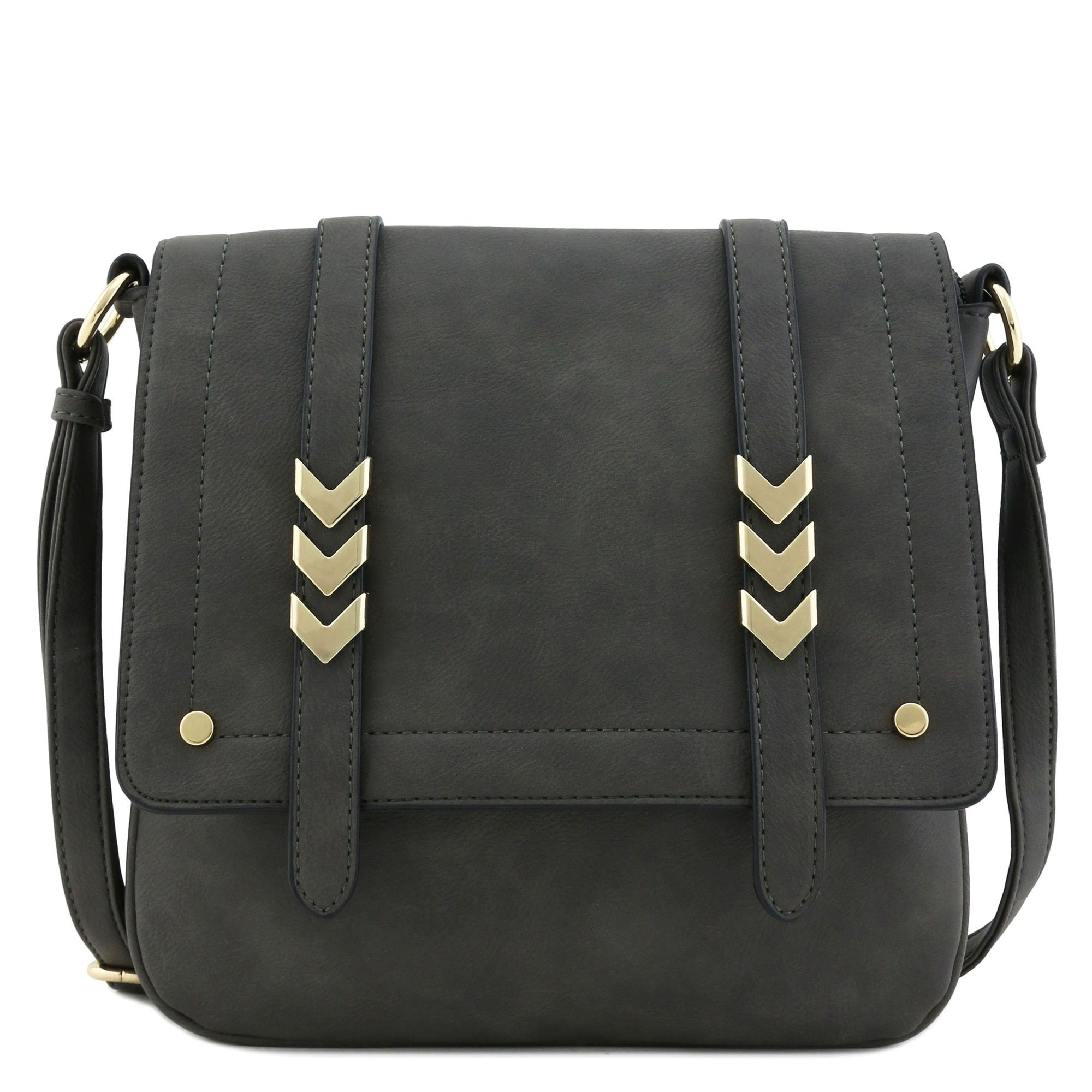 Double Compartment Large Flapover Crossbody Bag (Charcoal Grey)
