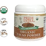 Pride Of India - Organic Cacao Powder (From premium Criollo Beans) - Iron & Fiber Rich Superfood - 8oz (227gm) Jar