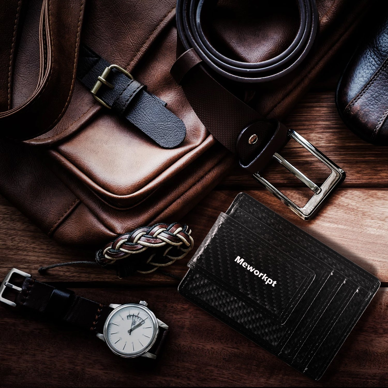 【Gift Box】MeWorkpt Carbon Fiber Front Money Clip Slim Minimalist Wallets with Powerful Magnets Plus RFID Blocking by MeWorkpt (Image #8)