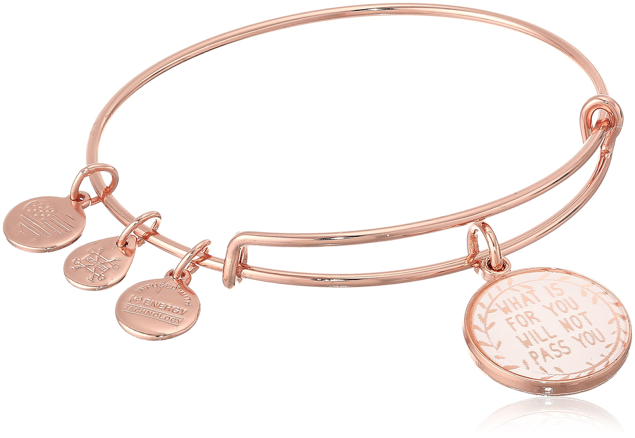 Alex and Ani Words are Powerful, What Is for You Will Not Pass You II EWB Shiny Rose Bangle Bracelet
