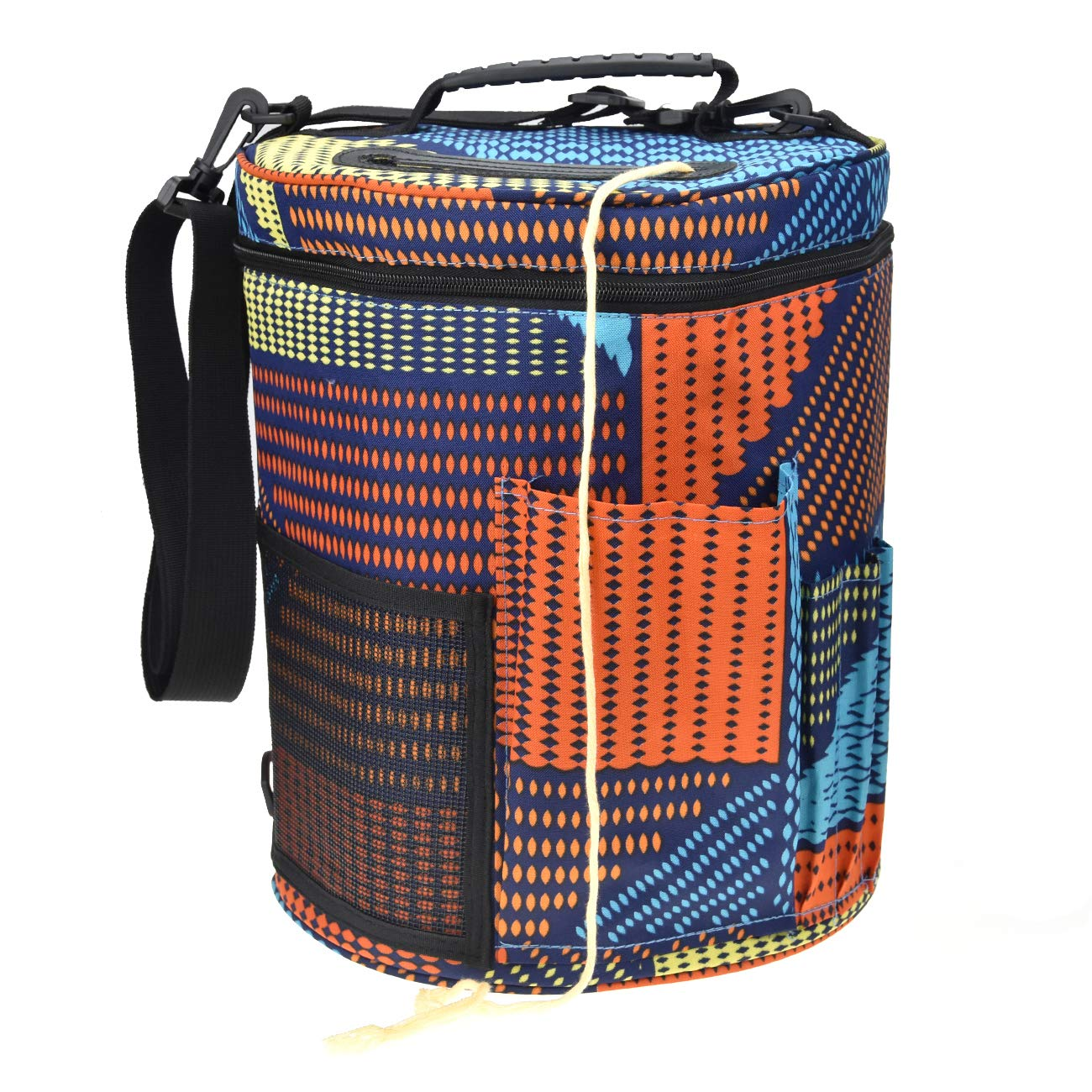 Large Capacity/Portable/Lightweight Yarn Storage Knitting Tote Organizer Bag with Shoulder Strap Handles Looen Yarn Containers W/Pockets for Crochet Hooks & Knitting Needles (Geometry, 12.7X10.8'')