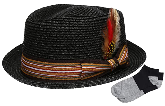 02d5c06ed33 Men s Premium Straw Porkpie Fedora Hat with Summer Low Cut Sock(F1860-BLACK