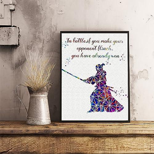 Amazon.com: Samurai Geometric Quote Watercolor Posters ...