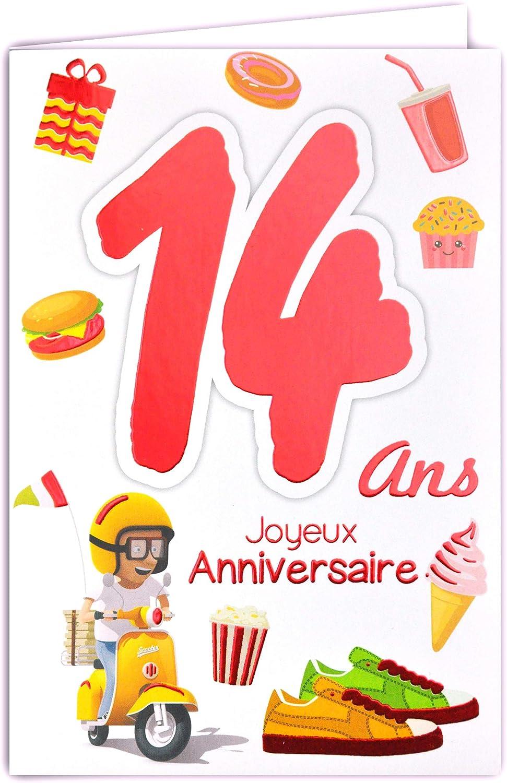 Afie 69 2114 Carte Joyeux Anniversaire 14 Ans Ados Garcon Fille Scooter Vespa Cadeaux Gteau Cupcake Hamburger Basket Amazon Fr Fournitures De Bureau