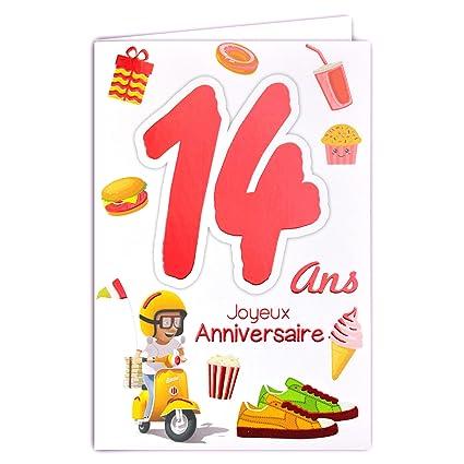 69-2014 - Tarjeta feliz cumpleaños de 14 años para niños y ...