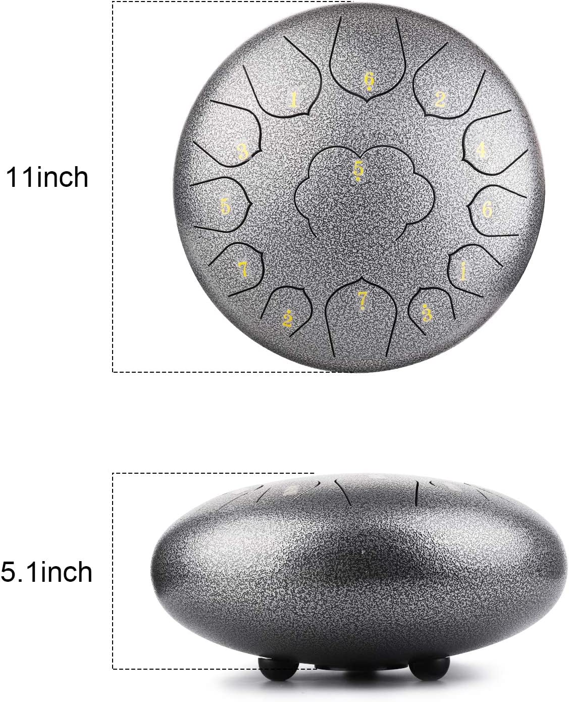 Steel Tongue Drum 13 Notes 12 Inch Percussion Instrument C-Key Handpan Drum With Bag,Couple of Mallets,for Musical Education Concert Mind Healing Yoga