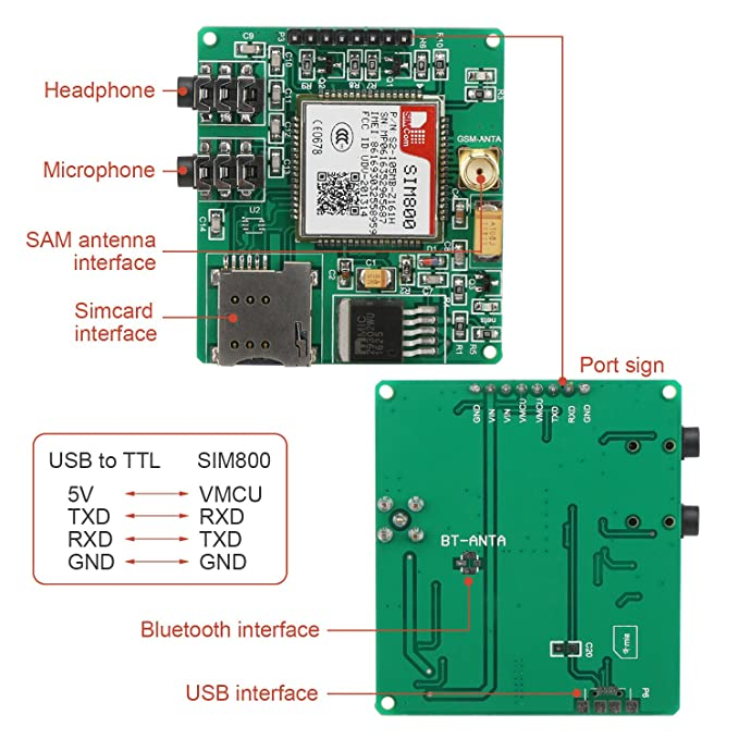 DROK® SIM800 GSM GPRS Module, Arduino GSM GPRS Developing Board with