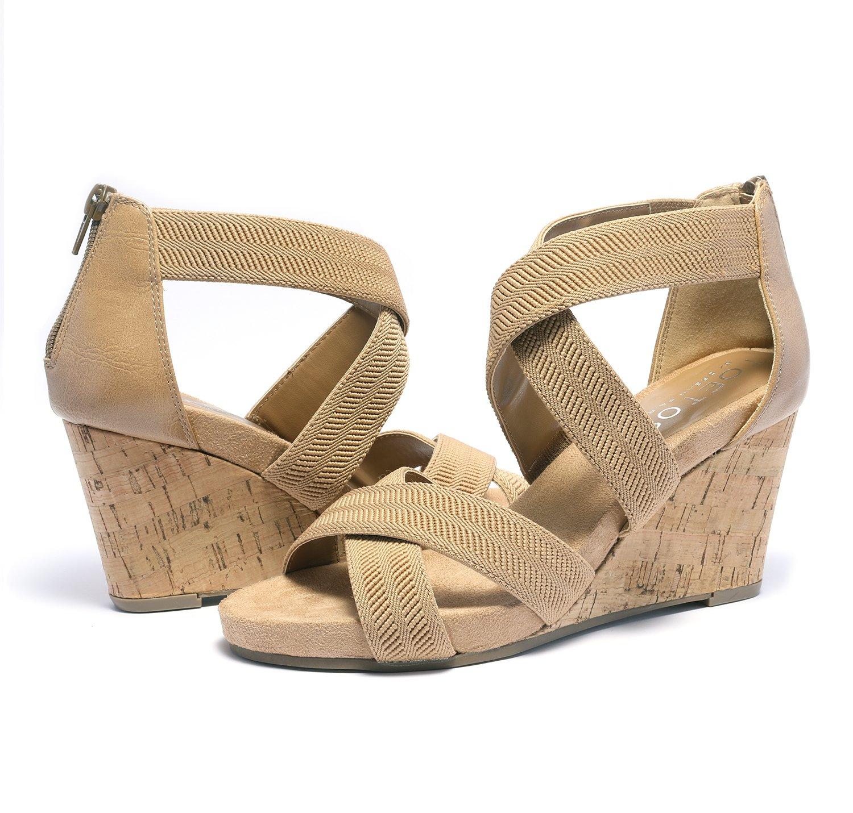 TOETOS Women's Solsoft_15 White Low Platform Wedges Back Zipper Sandals Size 8.5 B(M) US by TOETOS (Image #2)