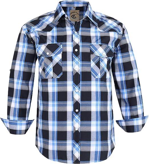 Men Casual Plaid Long Sleeve Button Down Cotton Shirts