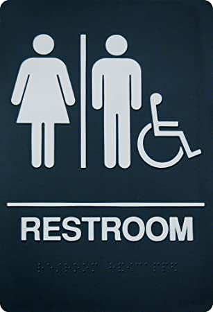 Amazon Com Corko Signs Unisex Braille Restroom Sign Bathroom Sign With Double Sided 3m Tape Office Products