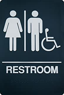 Exceptionnel Unisex Braille Restroom Sign   ADA Approved Bathroom Sign With Double Sided  3M Tape