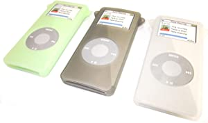 Samsonite Ultra Soft Silicone Skin Case for Apple iPod Nano 1st Generation Protective Cover in Translucent Green, Smoke & Clear, 3-Pack