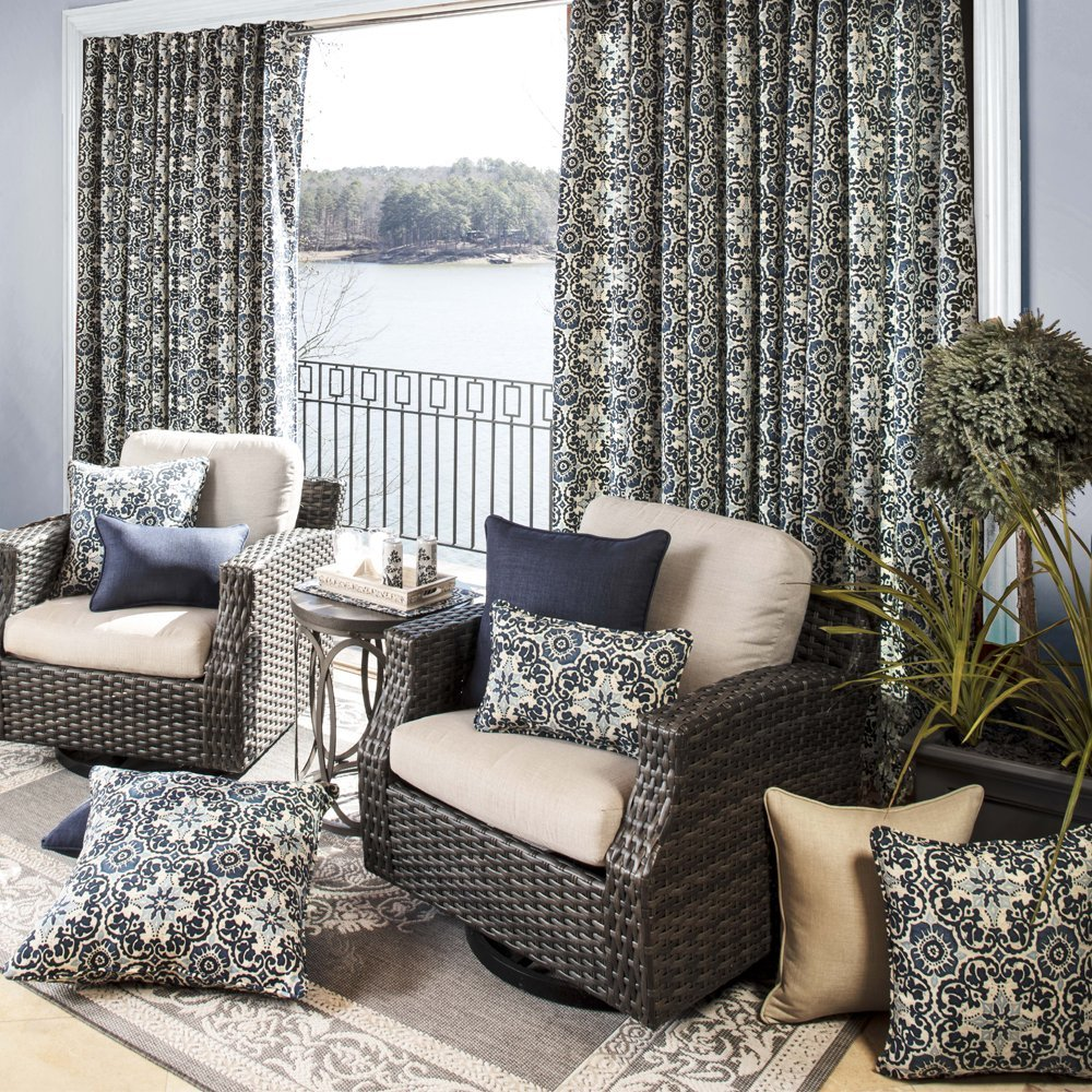 Pillow Perfect Outdoor Indoor Woodblock Prism Rectangular Throw Pillow Set of 2 , Blue