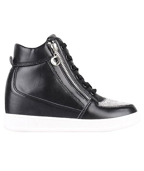 KRISP, sneaker da donna a collo alto, eleganti e alla moda, Nero (