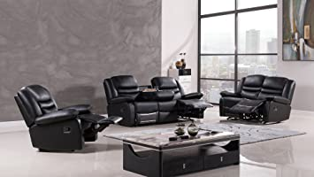 American Eagle Furniture 3 Piece Bayfront Collection Complete Leather  Reclining Living Room Sofa Set, Black Part 71