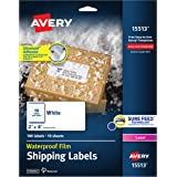 """Avery Waterproof Shipping Labels with Sure Feed & TrueBlock 2"""" x 4"""", 100 White Laser Labels (15513)"""