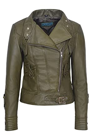 0622f6ab4f69 Supermodel Ladies Olive Green Biker Style Designer Real Italian Leather  Jacket (4 US / 8